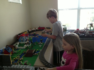 Micah and Emmy playing in Lego Land