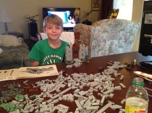 Micah building LOTR castle